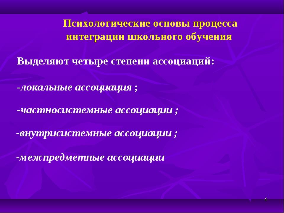 * -межпредметные ассоциации Психологические основы процесса интеграции школьн...