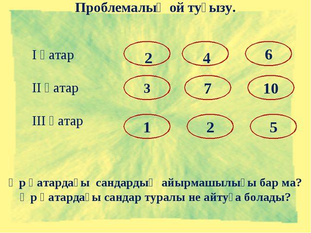 Проблемалық ой туғызу. І қатар ІІ қатар ІІІ қатар 6 1 3 7 10 2 5 2 4 Әр қатар...