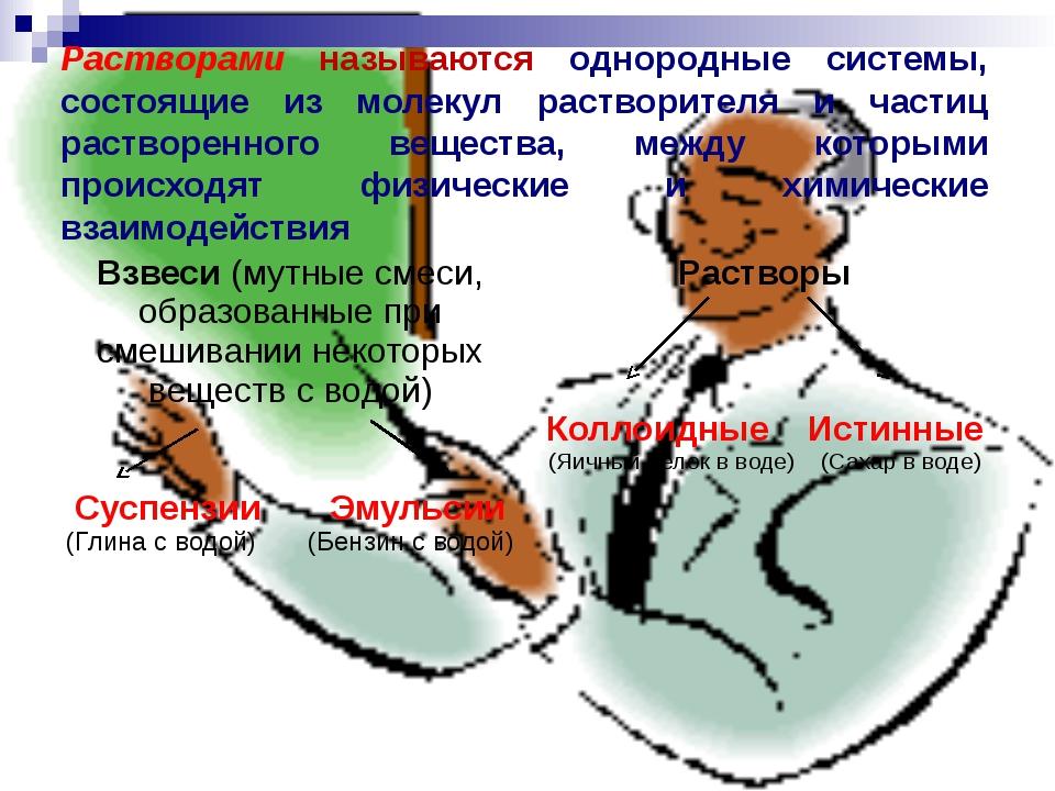 Растворами называются однородные системы, состоящие из молекул растворителя и...