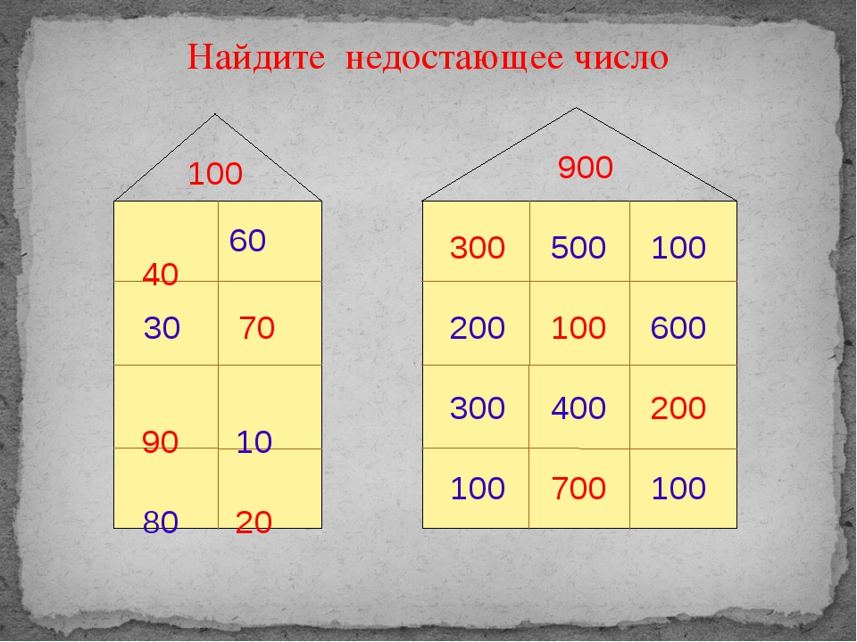 Найдите недостающее число 100 900 40 60 30 70 90 10 80 20 300 500 100 600 20...