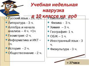 Учебная недельная нагрузка в 10 классе на год Русский язык - 1ч. +2ч Литерат