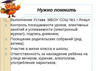 Нужно помнить Выполнение Устава МБОУ СОШ №1 г.Янаул Контроль посещаемости уро