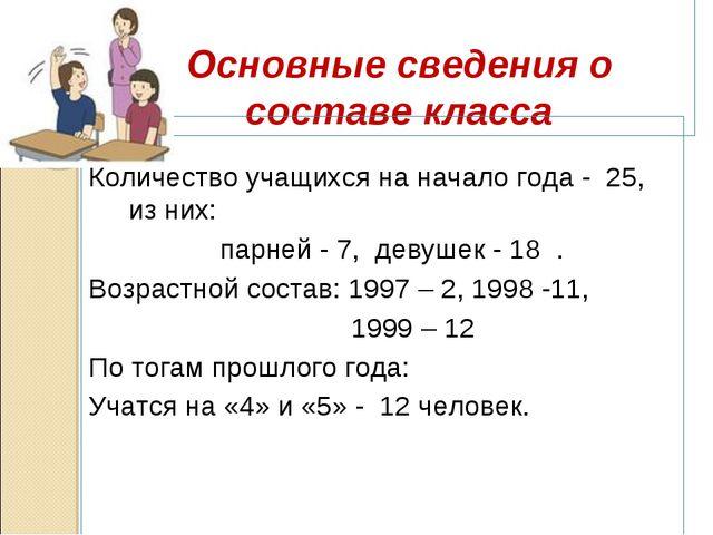 Основные сведения о составе класса Количество учащихся на начало года - 25,...