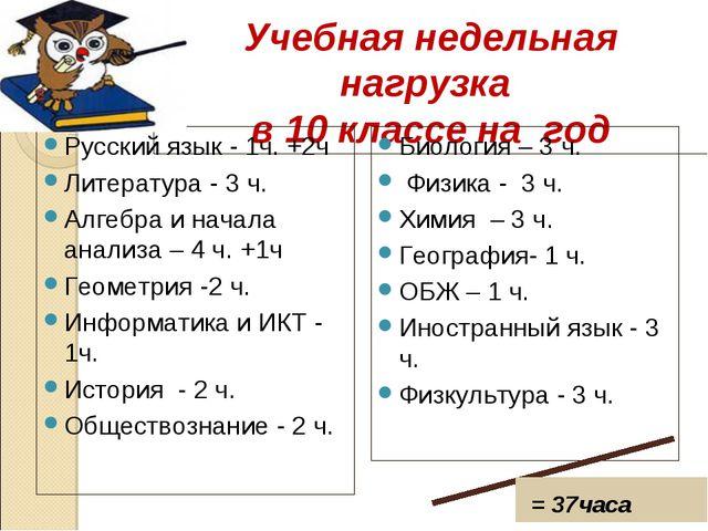 Учебная недельная нагрузка в 10 классе на год Русский язык - 1ч. +2ч Литерат...