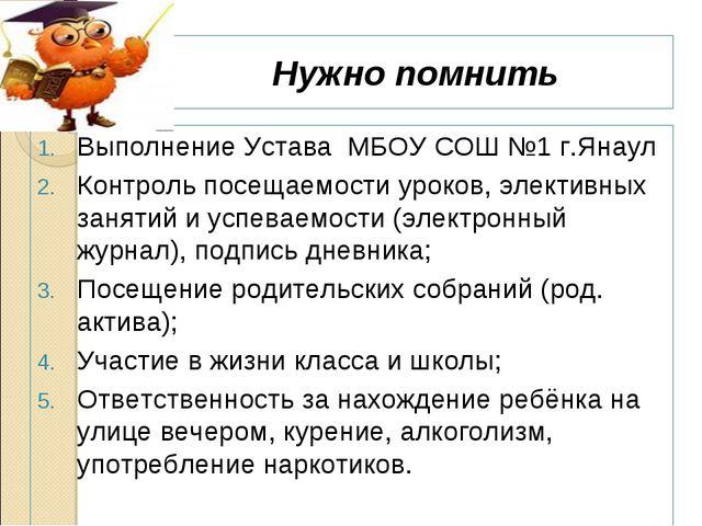 Нужно помнить Выполнение Устава МБОУ СОШ №1 г.Янаул Контроль посещаемости уро...