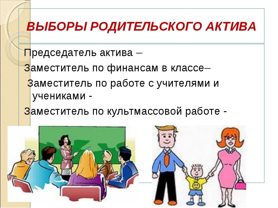 ВЫБОРЫ РОДИТЕЛЬСКОГО АКТИВА Председатель актива – Заместитель по финансам в к...