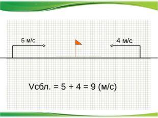 5 м/с 4 м/с Vсбл. = 5 + 4 = 9 (м/с)