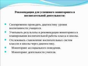 Рекомендации для успешного мониторинга в воспитательной деятельности: Своевре