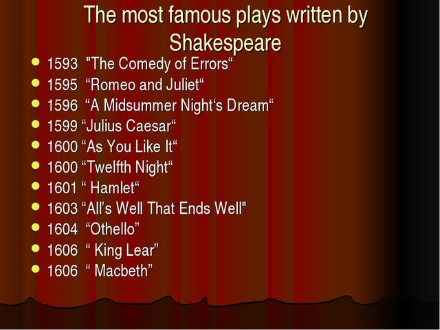 "The most famous plays written by Shakespeare 1593 ""The Comedy of Errors"" 1595..."