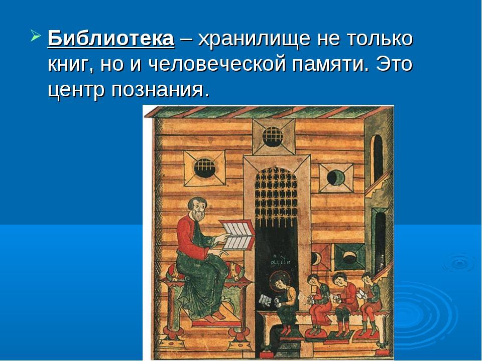 Библиотека – хранилище не только книг, но и человеческой памяти. Это центр по...