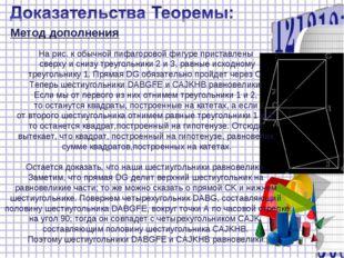 Метод дополнения На рис. к обычной пифагоровой фигуре приставлены сверху и сн
