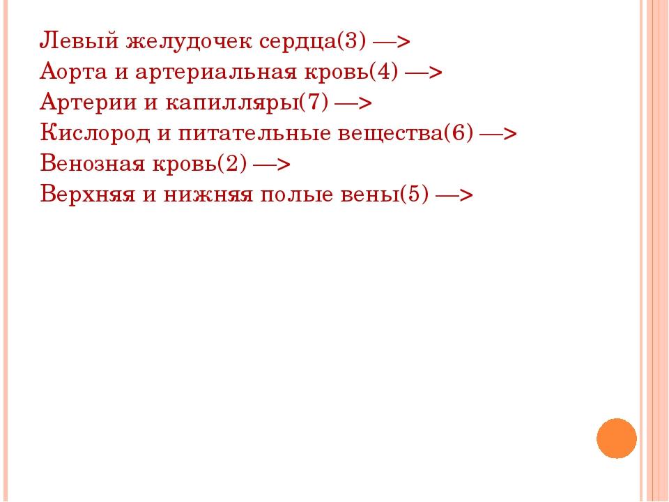 Левый желудочек сердца(3) —> Аорта и артериальная кровь(4) —> Артерии и капил...