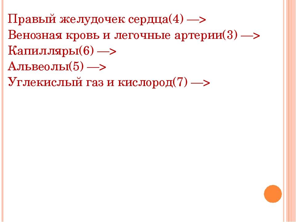 Правый желудочек сердца(4) —> Венозная кровь и легочные артерии(3) —> Капилля...