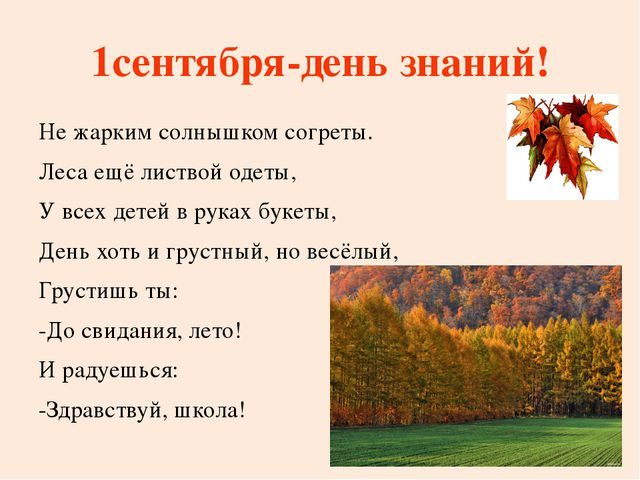 1сентября-день знаний! Не жарким солнышком согреты. Леса ещё листвой одеты,...