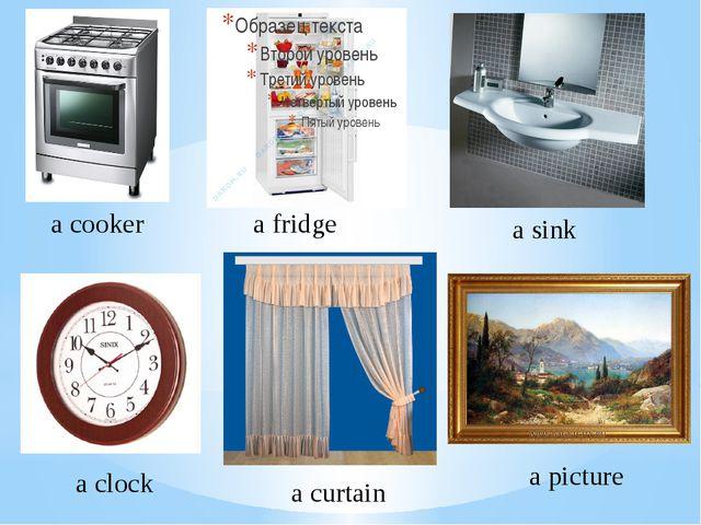 a cooker a fridge a sink a clock a curtain a picture