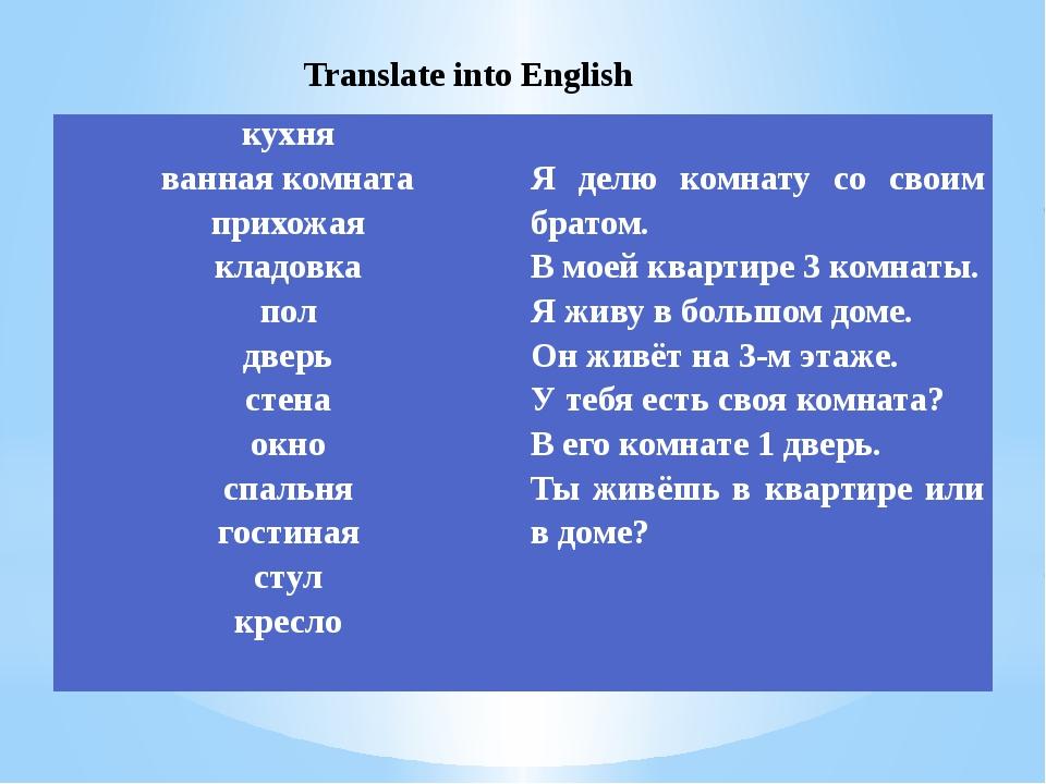 Translate into English кухня ванная комната прихожая кладовка пол дверь стен...