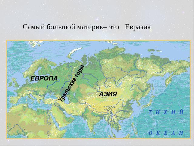 Уральские горы ЕВРОПА АЗИЯ Самый большой материк– это Евразия