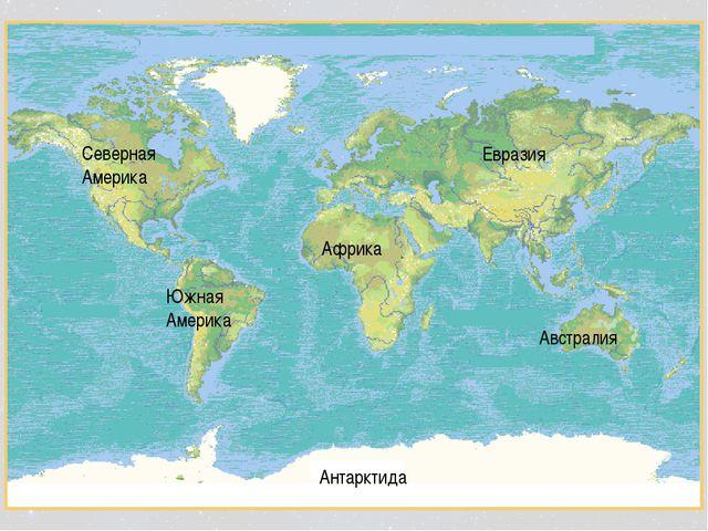 Северная Америка Южная Америка Африка Евразия Австралия Антарктида