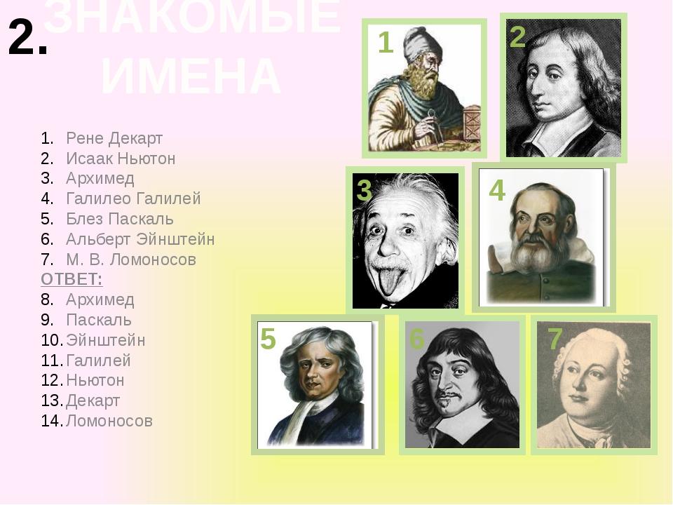 Рене Декарт Исаак Ньютон Архимед Галилео Галилей Блез Паскаль Альберт Эйнштей...