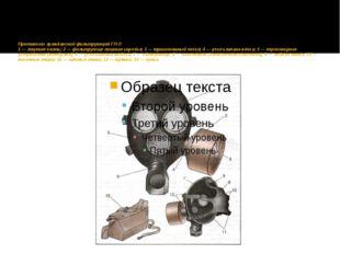 Противогаз гражданский фильтрующий ГП-7: 1 — лицевая часть; 2 — фильтрующе-л