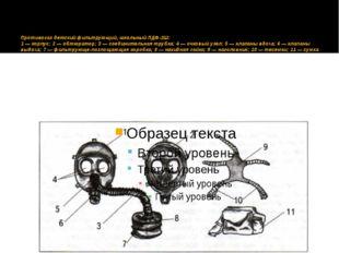 Противогаз детский фильтрующий, школьный ПДФ-2Ш: 1 — корпус; 2 — обтюратор;