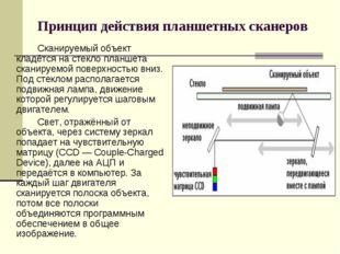 Принцип действия планшетных сканеров Сканируемый объект кладётся на стекло