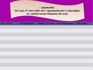 Қорытынды Бағалау: бүгінгі сабақты қорытындылап оқушыларды төмендегі кесте бо