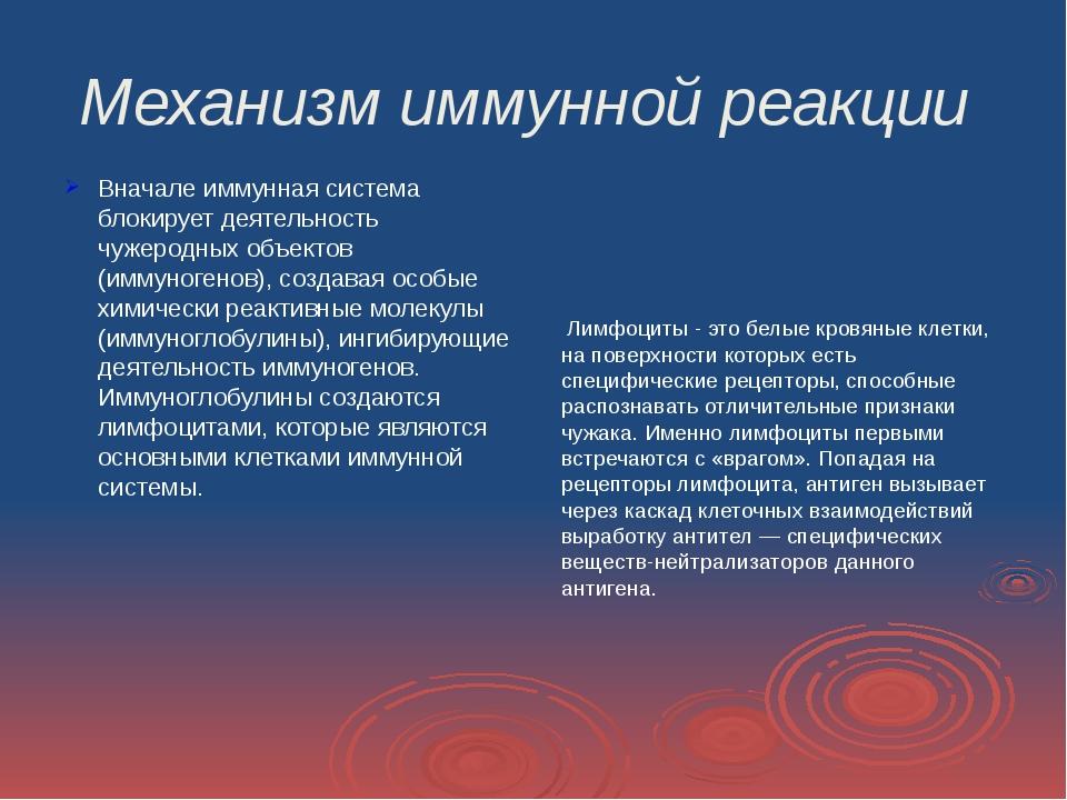 Механизм иммунной реакции Вначале иммунная система блокирует деятельность чуж...