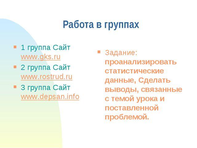 Работа в группах 1 группа Сайт www.gks.ru 2 группа Сайт www.rostrud.ru 3 груп...