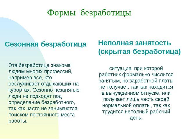 Неполная занятость (скрытая безработица) Формы безработицы Сезонная безработи...