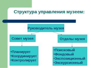 Структура управления музеем: Руководитель музея Совет музея Отделы музея План