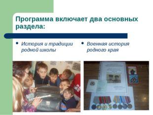 Программа включает два основных раздела: История и традиции родной школы Воен