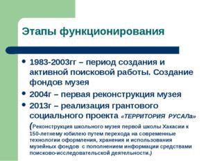 Этапы функционирования 1983-2003гг – период создания и активной поисковой раб