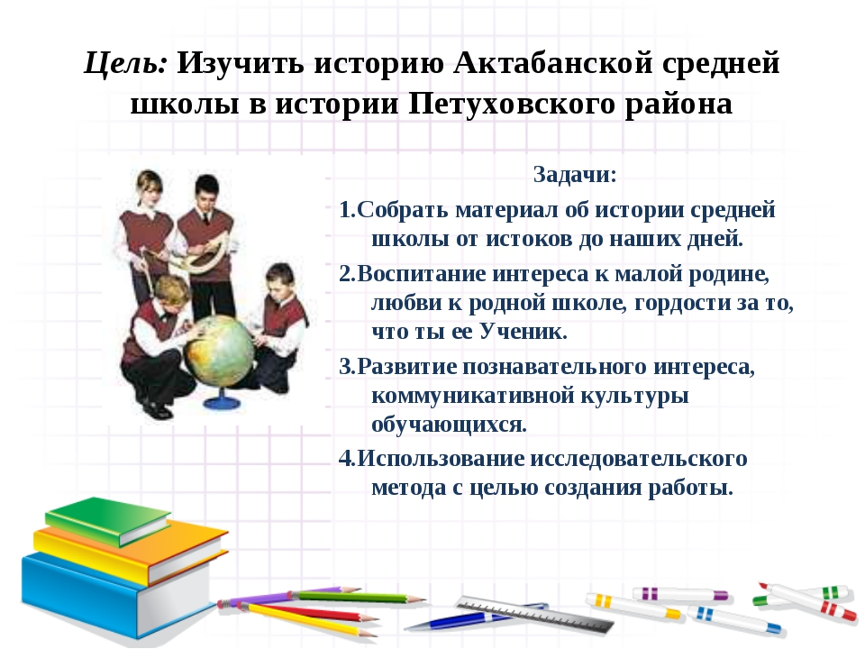 Цель: Изучить историю Актабанской средней школы в истории Петуховского района...