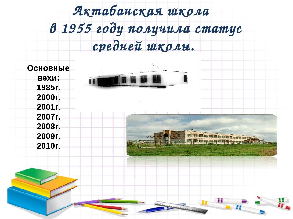 Актабанская школа в 1955 году получила статус средней школы. Основные вехи: 1...