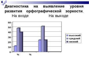 Диагностика на выявление уровня развития орфографической зоркости. На входе Н