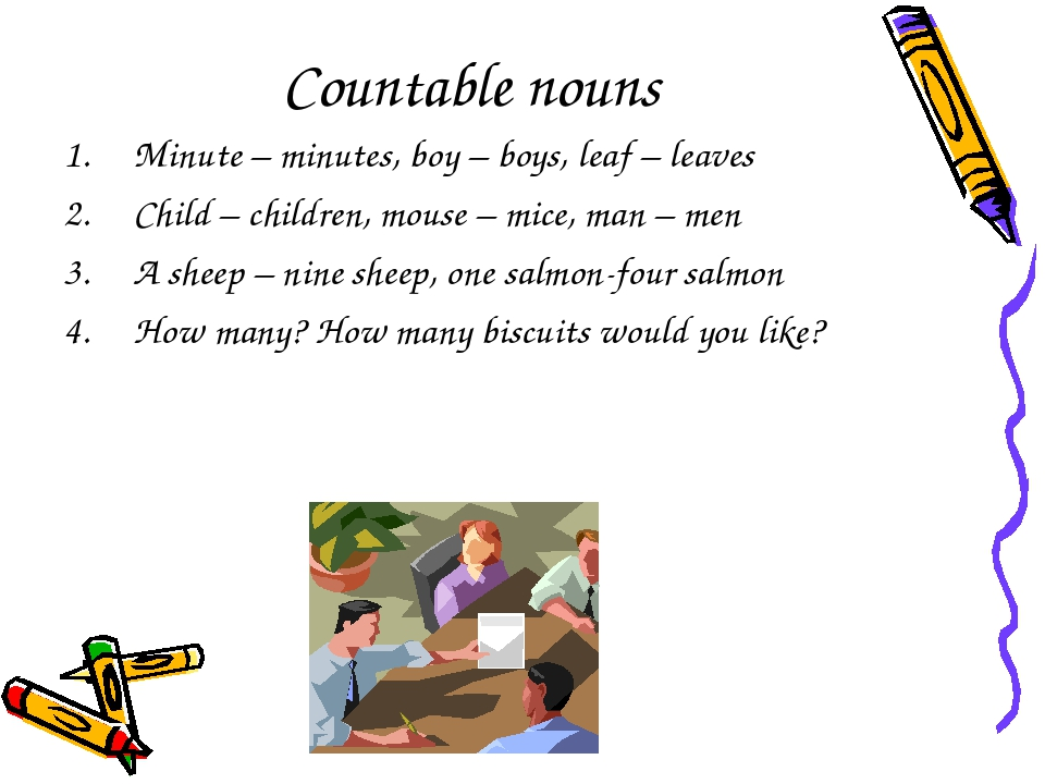 Countable nouns Minute – minutes, boy – boys, leaf – leaves Child – children,...