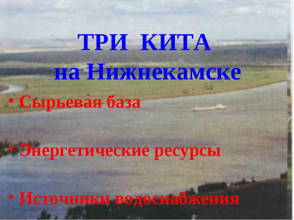 ТРИ КИТА на Нижнекамске Сырьевая база Энергетические ресурсы Источники водосн...