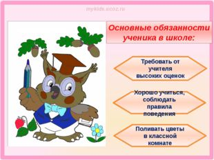 Основные обязанности ученика в школе: Хорошо учиться, соблюдать правила пове