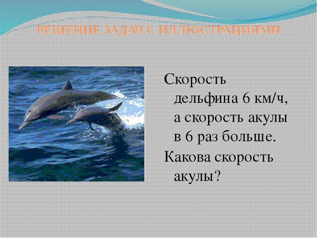 РЕШЕНИЕ ЗАДАЧ С ИЛЛЮСТРАЦИЯМИ Скорость дельфина 6 км/ч, а скорость акулы в 6...