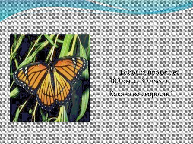 Бабочка пролетает 300 км за 30 часов. Какова её скорость?
