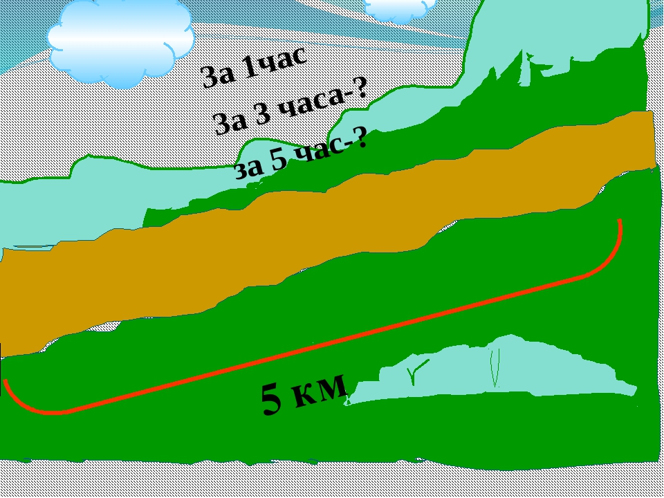 5 км За 1час За 3 часа-? за 5 час-?