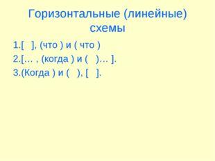 Горизонтальные (линейные) схемы 1.[ ], (что ) и ( что ) 2.[… , (когда ) и ( )