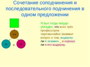 Сочетание соподчинения и последовательного подчинения в одном предложении что