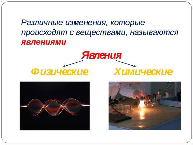 Различные изменения, которые происходят с веществами, называются явлениями Яв...