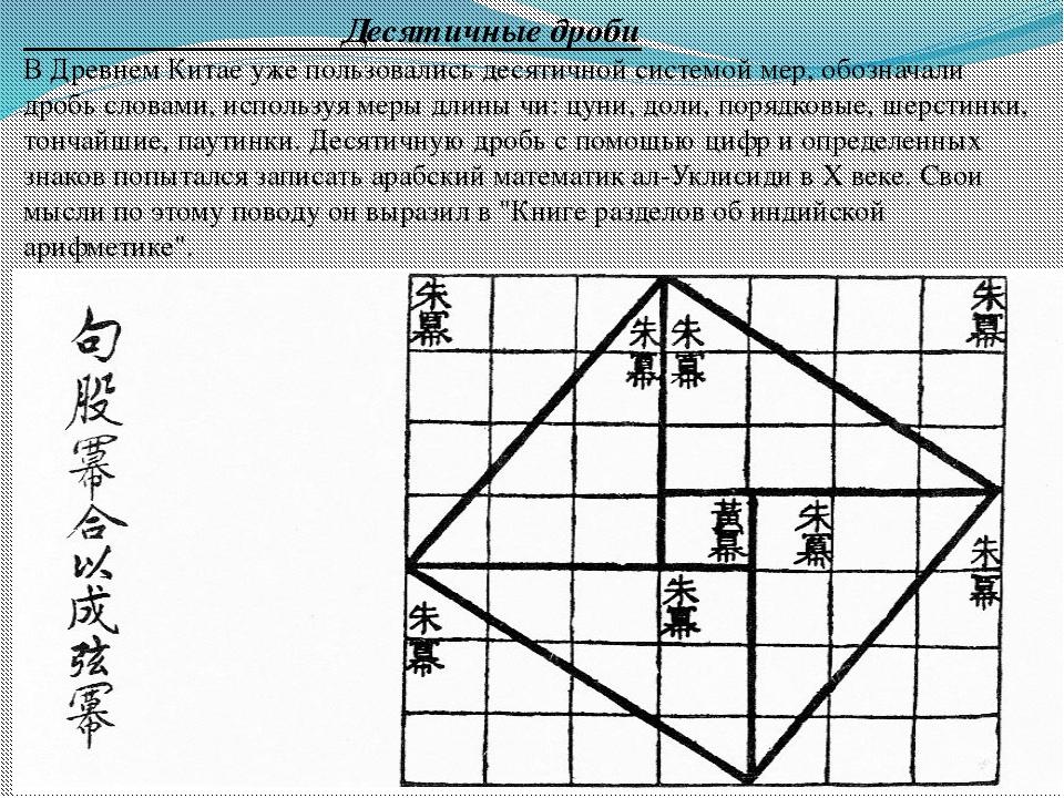 Десятичные дроби В Древнем Китае уже пользовались десятичной системой мер, о...