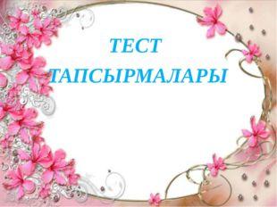 ТЕСТ ТАПСЫРМАЛАРЫ