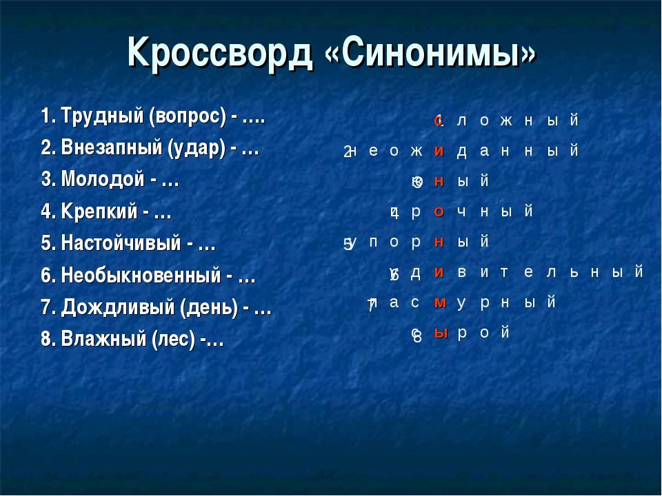 Кроссворд «Синонимы» 1. Трудный (вопрос) - …. 2. Внезапный (удар) - … 3. Моло...