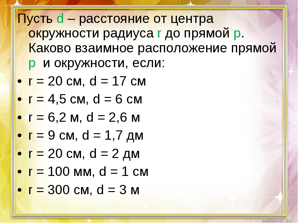 Пусть d – расстояние от центра окружности радиуса r до прямой p. Каково взаим...