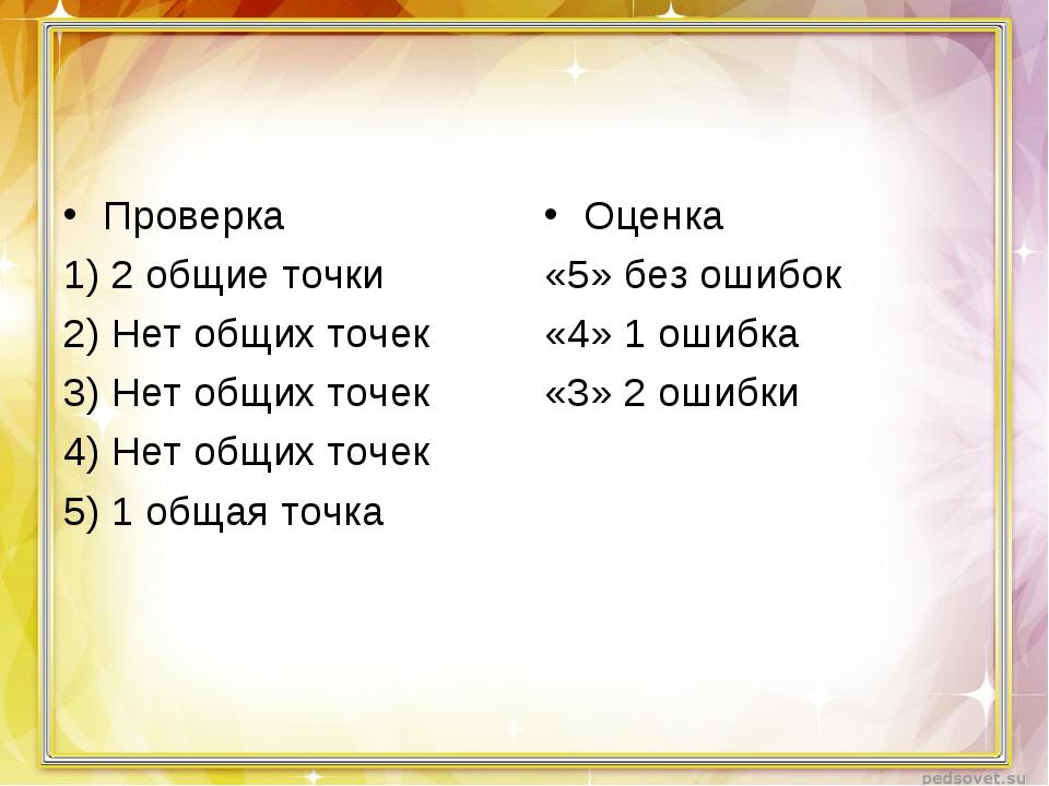 Проверка 1) 2 общие точки 2) Нет общих точек 3) Нет общих точек 4) Нет общих...
